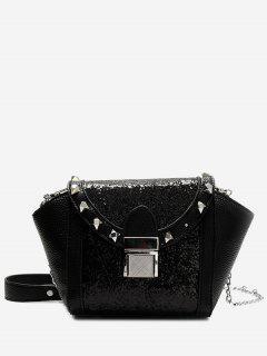 Rivet Sequin Metal Crossbody Bag - Black