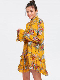 Long Sleeve Floral Ruffles Tunic Shift Dress - Yellow M
