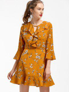 Floral Ruffles Fit And Flare Dress - Earthy S