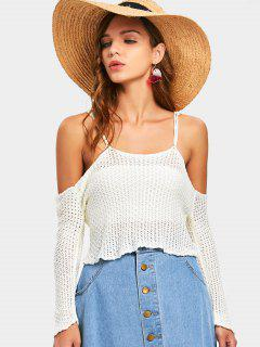 Crochet Cold Shoulder Top - Blanc Cassé M