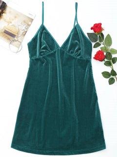Robe De Nuit En Velours Avec Bretelles Spaghetti - Vert Foncé M