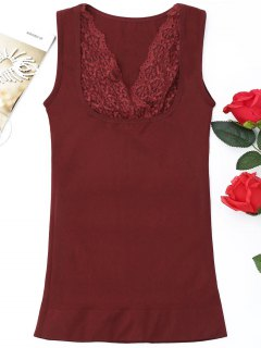 Lace Panel Slim Tank Top - Dark Red