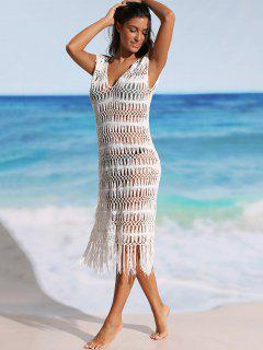 Fringe Crochet Cover-up Dress - White