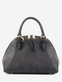Shell Shape Crocodile Pattern Buckle Strap Totes - Black