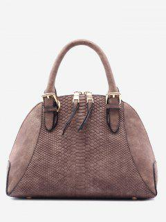 Shell Shape Crocodile Pattern Buckle Strap Totes - Dun