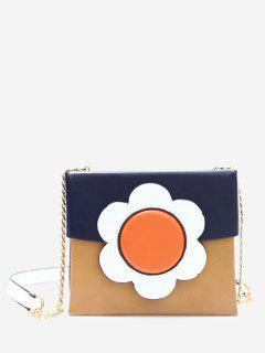 Chain Floral Color Block Crossbody Bag - Blue