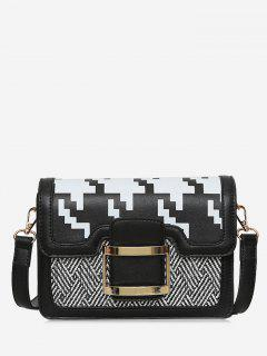 Buckle Strap Geometric Metal Crossbody Bag - Black