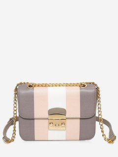 Chain Color Block Faux Leather Crossbody Bag - Gray