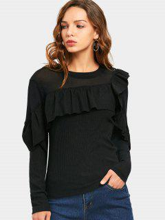 Mesh Panel Ruffles Ribbed Knitted Top - Black M