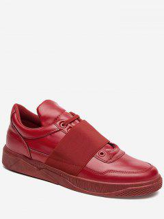 Elastic Band Faux Leather Casual Shoes - Red 40