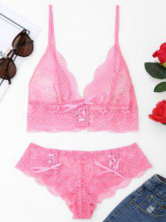 Ensemble Bralette En Dentelle - Rose Rouge S