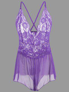 Plunge Lace Crossback Teddy - Purple M