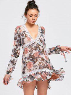 Long Sleeve Lace Trim Shift Mini Dress - Floral S