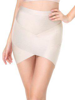 High Waist Mini Bandage Skirt - Light Apricot M