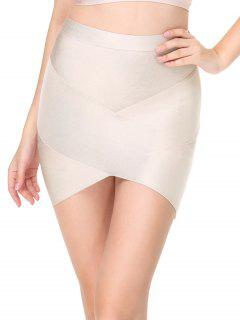 High Waist Mini Bandage Skirt - Light Apricot L