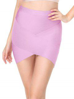 High Waist Mini Bandage Skirt - Pinkish Purple L