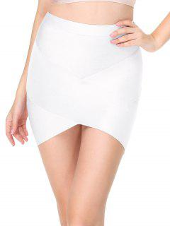 High Waist Mini Bandage Skirt - White L