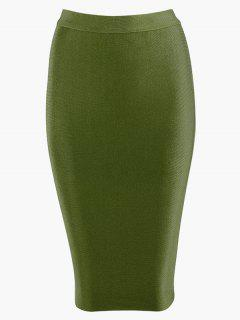 High Waist Plain Bodycon Skirt - Army Green L
