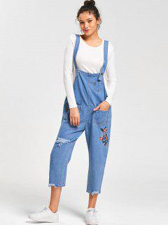 Embroidery Frayed Jean Drop Crotch Jumpsuit - Cloudy L