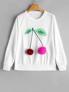 Camiseta Bordada Bola Encrespada De La Cereza - Blanco L