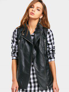 PU Leather Waistcoat - Black Xl