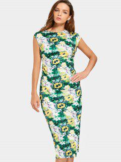 Cap Sleeve Floral Sheath Midi Dress - Floral M