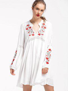 Puff Sleeve Floral Embroidered Shift Dress - White L