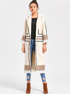 Manteau Long Imprimé Tribal à Franges - Blanc Cassé Xl