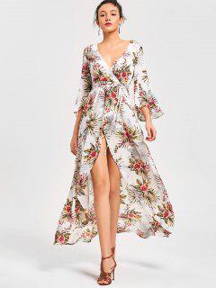 Floral High Split Flare Sleeve Surplice Dress - Floral 2xl