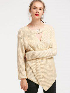 Crossover Asymmetric Choker Sweater - Apricot