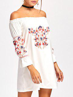 Off Shoulder Ruffle Flare Sleeve Dress - White S