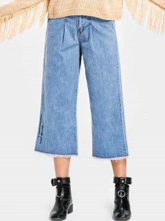 Frayed Embroidered Wide Leg Jeans - Denim Blue M