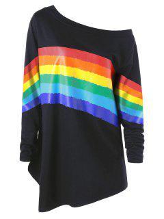 Plus Size Colorful Stripes Skew Neck Pullover Sweatshirt - Black Xl