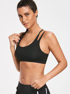 High Impact Strappy Back Sporty Bra - Black M