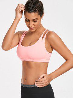 High Impact Strappy Back Sporty Bra - Fluorescent Pink M