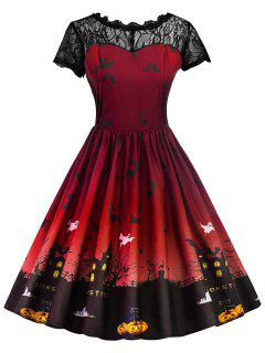 Halloween Vintage Lace Insert Pin Up Dress - Deep Red L