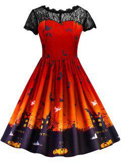 Halloween Vintage Lace Insert Pin Up Dress - Jacinth 2xl
