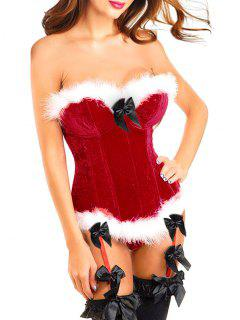 Faux Pelz Trim Weihnachten Korsett Top - Rot 2xl