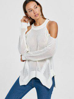 Cold Shoulder Open Knit Tunic Sweater - White M
