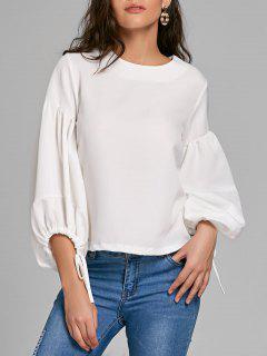 Puff Sleeve Lacing Manschetten Bluse - Weiß 2xl