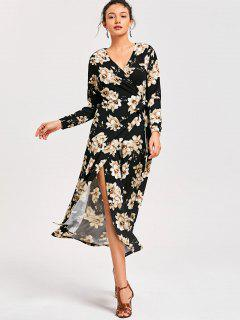 Floral Long Sleeve Wrap Dress - Black Xl