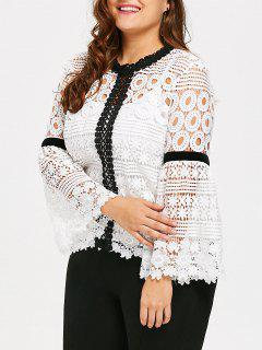 Plus Size Crochet Hollow Out Top With Cami - White 2xl