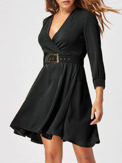 Fit And Flare Dress With Belt - Black 2xl