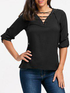 V Neck Lace Up Long Sleeve Blouse - Black S