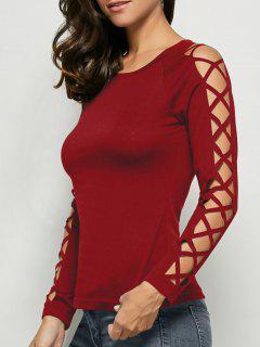 Cut Out Raglan Sleeve Plain T-Shirt - Wine Red M
