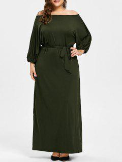 Plus Size Off The Shoulder Belted Maxi Dress - Army Green 4xl
