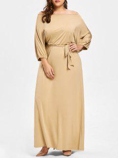 Robe Maxi à Épaules Dénudées Avec Ceinture Grande-Taille - Camel 2xl