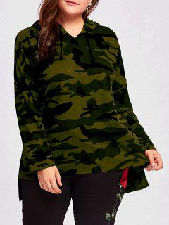 Plus Size Long High Low Camo Hoodie - Army Green Xl