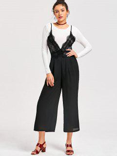 Spaghetti Straps Lace Panel Jumpsuit+Long Sleeve Top - Black 2xl