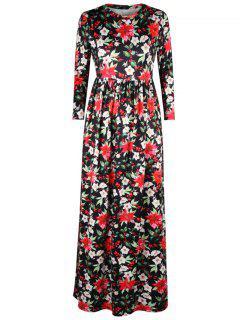 Impresión Floral De La Hoja Un Vestido Maxi De La Línea - Negro Xl